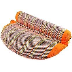 SAPURA® Rollo 2 en 1, cojín de meditación y bolster, con relleno de alforfón, color naranja