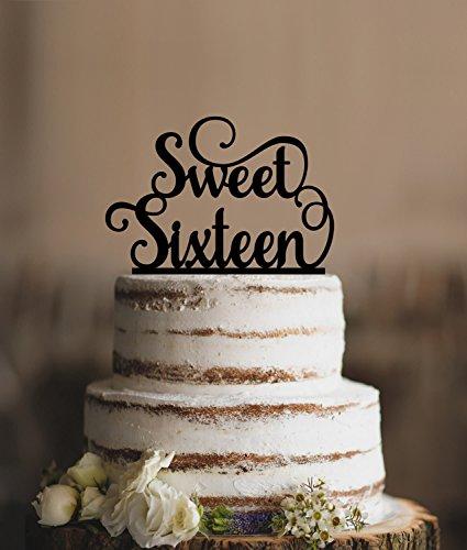 Elegante Sweet Sixteen Geburtstag Topper Script Birthday Cake Topper anpassbare Farben Geburtstag Geschenk für Damen Herren Geburtstag Party Dekorationen Topper