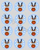 12 Rudolph reindeer Christmas rice paper cupcake toppers 40mm cake decoration
