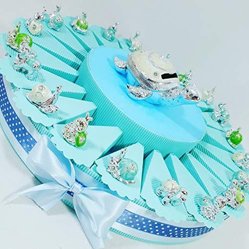Bomboniere animali argentati a torta bomboniera per nascita, battesimo,compleanno, comunione maschietto. torta con fette + confetti + oggetti + salvadanaio … (torta 20 fette 1piano a)