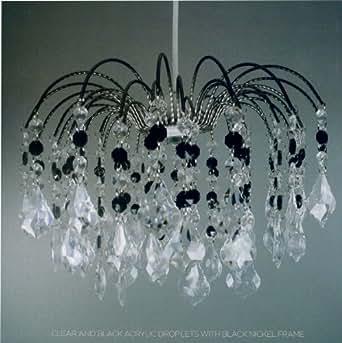 Mara Lightmode Foyer Pendant Light Shade Crystal: Black / Clear