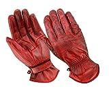 BOSmoto Motorrad Handschuhen Racing Kevlar gewachst Leder Handschuhe Wachs (M, Wachs Rot)