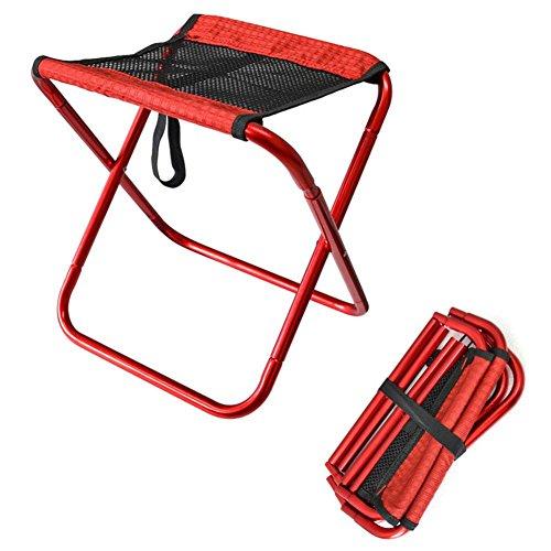 PROKTH Chaise Pliante en Plein air Chaise de Pêche Chaise de Camping Tabouret de Voyage Chaise de Pique-Nique Chaise de Plage - Léger et Portable - Rouge