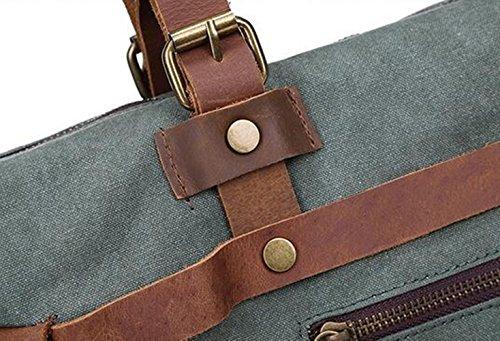 MeiliYH Männer Segeltuch-Rindleder-Schulter-Handtasche beiläufige große Kapazitäts-im Freienspielraum-Beutel khaki