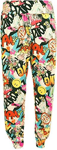 WearAll - Damen drucken Ganzkörper Elastische Taille Lange Damen Haremshose Hose - Comic - 40 bis 42 (Frauen-hosen Aufstieg)
