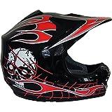 Qtech Black Knight - Casco protector para niños - Para motocross / todoterreno / dirt bike - Negro - M (55-56 cm)