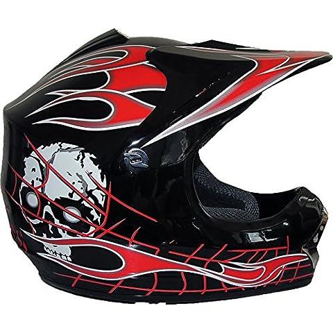 Qtech Black Knight - Casco protector para niños - Para motocross / todoterreno / dirt bike - Negro - M (55-56