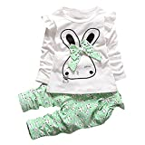 RWINDG Kleinkind Kinder Baby Mädchen Cartoon Bunny t-Shirt Tops Hosen Outfits 2 Stücke Kleidung Set DraußEn BäRchen Walkwolle Jacke Kuschelig