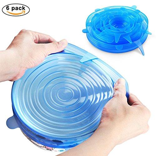Tmade 6 Stück Silikondeckel Dehnbare Frischhalte Deckel Verschiedenen Größen Silikon deckel Set für Gemüse, Becher, Töpfe, Tassen, - Milch Tasse Mikrowelle