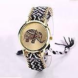 Vovotrade mujeres elefante patrón tejido armadura cuerda banda pulsera reloj de cuarzo reloj de regalo (a)