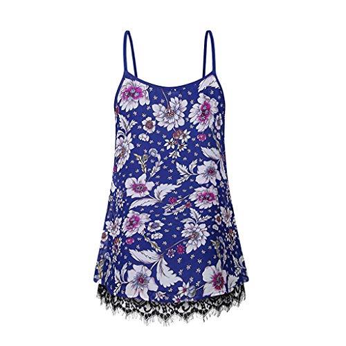 LEXUPE Lose äRmellose Damen Print Lace Cami Basic Camisole Tank Top WesteLose Gedruckte Damen ()