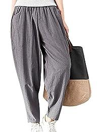 Pantalones De Verano Damas Ligero Cómodo Anchas Pantalones De Tiempo Libre  Color Sólido Elastische Taille Joven 02908af4fab7