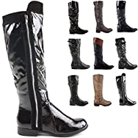 ShoeFashionista Style L Black Size 6 - Ladies Flat Winter Biker Style Low Heel Calf High Leg Knee Boots