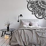 BFMBCH Mandala Aplique de pared Esquina Sala de estar Decoración Vinilo Adhesivo Flor Adhesivo de pared Sofá Fondo Arte Mural Adhesivo de pared Hogar 01 blanco 57x57cm