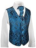 Festliche Kinder Anzug Weste für Jungs 3tlg Petrol blau Paisley + Hemd + Plastron I Hochzeit Kommunion 164 (14 Jahre)