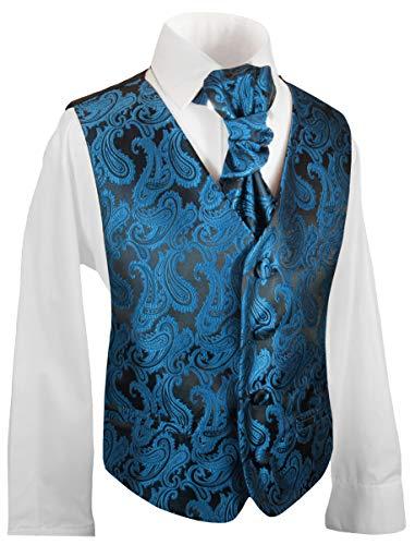 Festliche Kinder Anzug Weste für Jungs 3tlg Petrol blau Paisley + Hemd + Plastron I Hochzeit Kommunion 176 (16 Jahre)