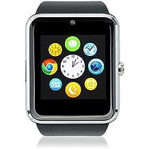 WISE UP GT08 Bluetooth Smartwatches Comunicación Móvil con Tarjeta SIM GSM GPRS para Android Samsung HTC (Plateado)