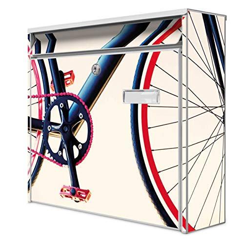 Burg Wächter Design Briefkasten | Postkasten 36 x 32 x 10cm groß | Stahl weiß verzinkt mit Namensschild | großer A4 Einwurf, 2 Schlüssel | Motiv Rennrad