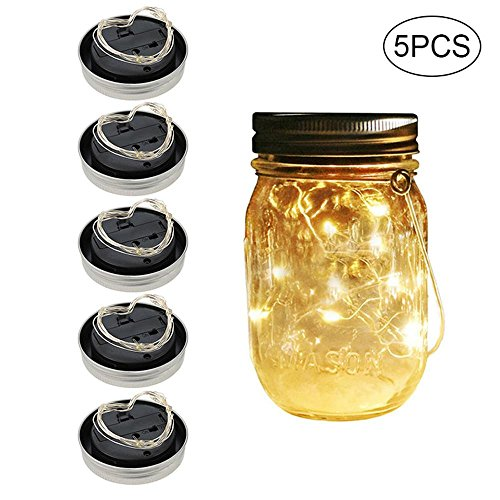 LayOPO 20LED Mason Jar Solarleuchten, Fairy Star Firefly Lichterkette Home Garten Decor Party/Hochzeit/Weihnachten/Deko 5x/Set (Kein Glas) warmweiß
