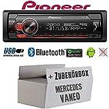 Autoradio Radio Pioneer MVH-S310BT - Bluetooth | Spotify | MP3 | USB | Android | 4x50Watt Einbauzubehör - Einbauset für Mercedes Vaneo W414 - JUST SOUND best choice for caraudio