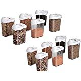 Floraware Plastic Cereal Dispenser Easy Flow Storage Jar With Lid For Cereals, Rice And Pulses, 750ml Set Of 12