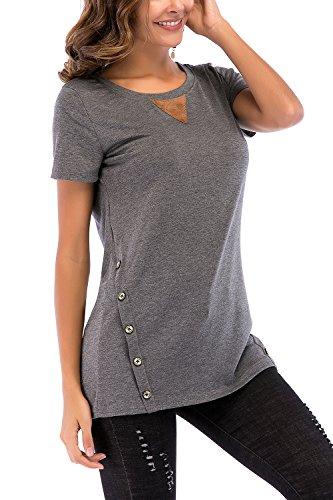 NICIAS Mujeres Botones en Ambos Lados Manga Corta Casual Cuello Redondo Parche en el Codo Camisa de Entrenamiento Camiseta de Suelta Blusas Chaqueta de Túnica(Gris Oscuro,XX-Large)