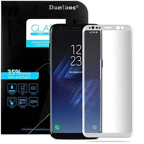 Samsung Galaxy S8 Plus Protector de Pantalla, Danibos 3D Cubierta Completa Película Protectora de Vidrio de Protección Ultravioleta Película de Vidrio Blindado Película Curvada Protector de Glass Screen Protector (Blanco)