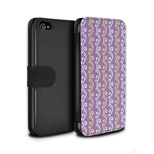 Stuff4 Coque/Etui/Housse Cuir PU Case/Cover pour Apple iPhone 4/4S / Multipack (4 Designs) Design / vigne Collection Violet