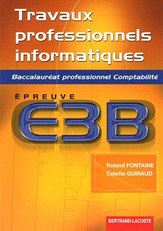 Travaux professionnels informatiques Bac pro comptabilité : Epreuve E3B