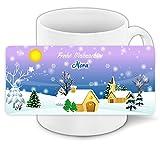 Weihnachtstasse mit Namen Nora und schönem Weihnachts-Motiv mit Winterlandschaft - Tasse zu Weihnachten