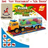 Vibgyor Vibes™ Colourful Realistic Sliceable Vegetable Truck Set With Knife, Chopping Board In A Big Size Truck