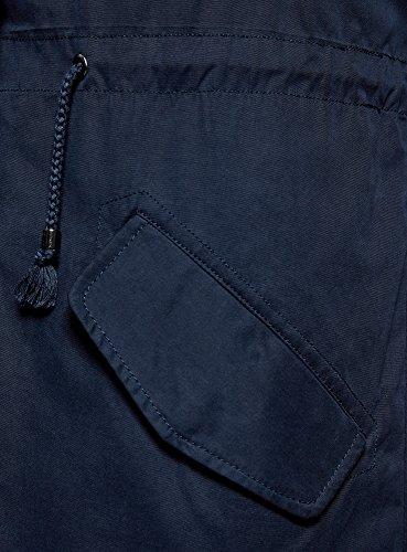 oodji Ultra Donna Parka con Tasche a Patta e Finitura in Pelliccia Sintetica Blu (7900N)