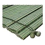ZEMIN Bambus Rollo Bambusrollo Innen/Außen Installieren Sinnvoll Anti-UV Vorhang Anpassbar Handheben, 2 Farben, 22 Größen