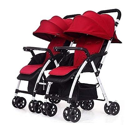 LQRYJDZ Cochecito de bebé Gemelo, Carrito Doble for bebé Desmontable Peso Ligero Plegable Cochecito Doble y Ligero Sistema de Seguridad de 5 Puntos, Rojo/Negro