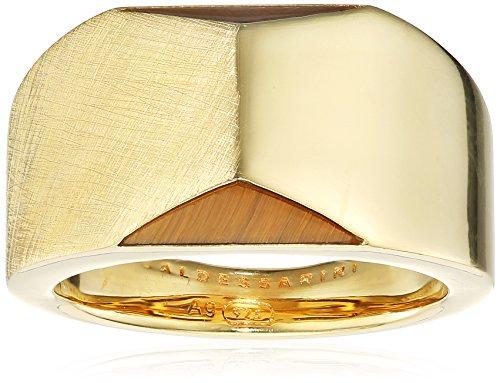 Baldessarini Herren-Ring 925 Silber gelb vergoldet Tigerauge goldbraun gestreift 62 (19.7) - Y2133R/90/D5/62