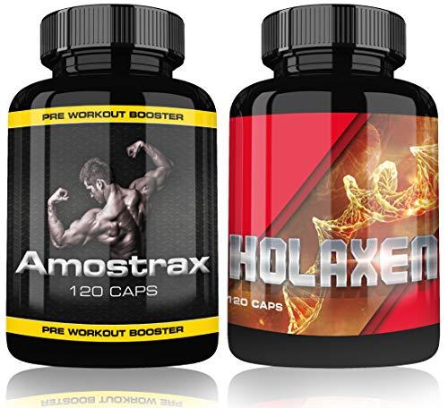 Holaxen und Amostrax Complex Testo Pre Workout Booster Extreme By Varg Power, 120 Kapseln, Beliebt bei Bodybuilder, Sportler und Männer, Hochdosiert, Matrix Formel nach Deutschen Standards - Booster-formel