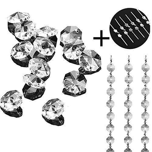 H&D 100 Stück achteckige Kristall-Perlen Hängende Kronleuchter Dekor 14 mm - Für Kristall-perlen Kronleuchter