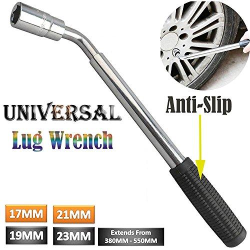 Clé de roue télescopique extensible Lug Clé antirouille de voiture van Pneu de rechange universelle kit 4 tailles 17 19 21 23 mm - Écrou pour le Socket