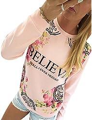 Moin Moda sudaderas Cuello redondo de la Mujer de manga larga T-shirt believf camisa de estampado de flores