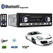 Radio de Coche, Lypumso Autoradio Estéreo Bluetooth Reproductor Multimedia Digital con Bluetooth Kit Manos Libres Conexión USB / AUX, 4x 60Watt, Negro