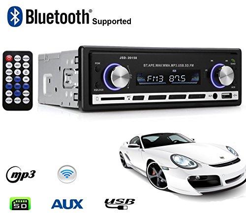 Autoradio Bluetooth, Lypumso Digital Media Receiver con vivavoce Bluetooth, supporto USB/connessione AUX, con slot SD, Nero