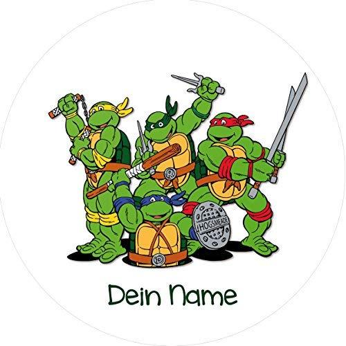Tortenaufleger Ninja Turtles1 mit Wunschtext / 20 cm Ø / Lieferung 2 bis 5 Werktage - Ninja Turtle Hintergrund