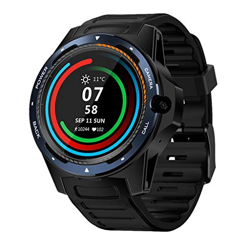Sixcup®1,39 Zoll Zeblaze Thor 5 Dual Smartwatch 4G GPS WiFi Android Smart Watch mit AMOLED Pedometer Heart Rate Monitor 2 + 16G Speicher 545 mAh Akku BT4.0 Armbanduhr (Blue) - Damen Dual Face Uhr