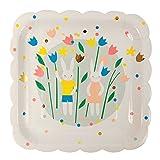 Pappteller Ostern mit Hasen und Blumen von Meri Meri