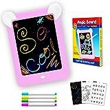 PHYLES Tableau Magique , Ardoise Magique pour Enfant , Tableau de Dessin Multifonction avec 8 Effets Lumineux - Loisir Créatif Jouet Educatif pour Votre Petit Artiste (Rose)