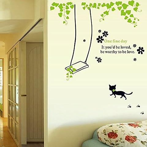 XMJR Wall decoration Sie können eine Karikatur Baum wand Wohnzimmer TV Kinder Schlafzimmer sofa Hintergrund Poster präsentieren innovative Wallpaper kleine Katzen swing entfernen, Große