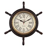 R.R.NAUTICALS 18INCH SHIP WHEEL WALL CLOCK NAUTICAL DECOR FOR HOME AND OFFICE