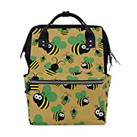 BKEOY Backpack Nappy Bag Cute Bee Pattern Diaper Bag Multifunction Travel Daypack for Mommy Mom Dad Unisex
