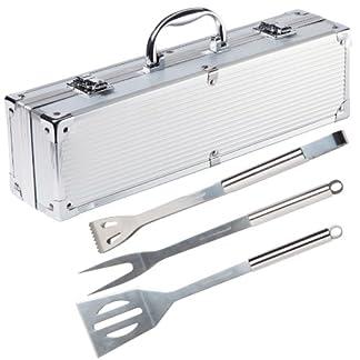 Ultranatura Utensilios de Acero Inoxidable para Barbacoa, 3 Piezas, en maletín de Aluminio