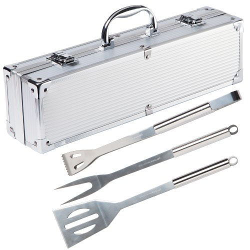 Ultranatura Stainless Steel Grill Tool Set - 3-Piece Set in Aluminium Case